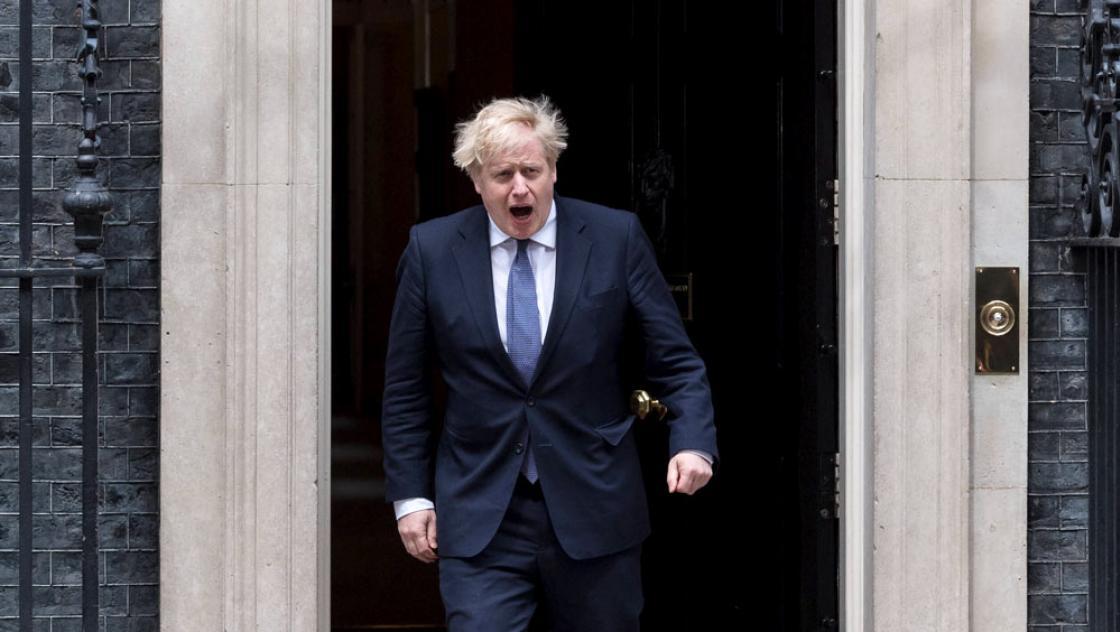 Der britische Premierminister Boris Johnson begrüßt den ungarischen Premierminister Viktor Orban (nicht im Bild) vor der Downing Street 10 in London, 28.5.2021 (IMAGO / NurPhoto)