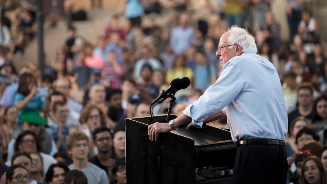 Bernie Sanders während einer Wahlkampfveranstaltung